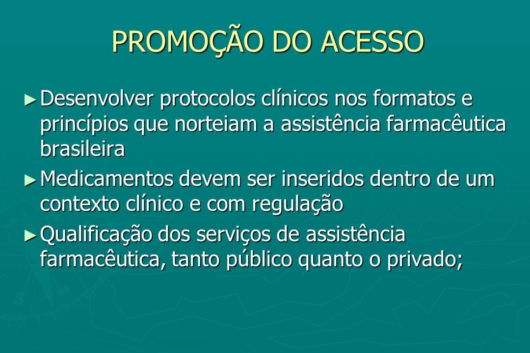PROMOÇÃO DO ACESSO Desenvolver protocolos clínicos nos formatos e princípios que norteiam a assistência farmacêutica brasileira Desenvolver protocolos