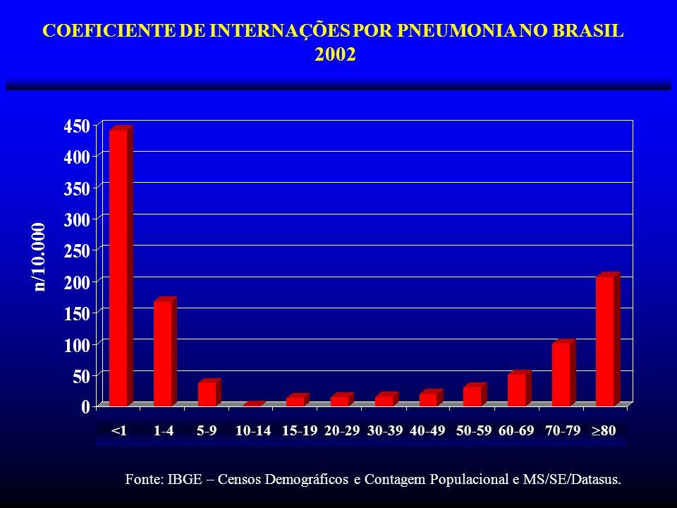 COEFICIENTE DE INTERNAÇÕES POR PNEUMONIA NO BRASIL 2002 <1 1-4 5-9 10-14 15-19 20-29 30-39 40-49 50-59 60-69 70-79 80 n/10.000 Fonte: IBGE – Censos De
