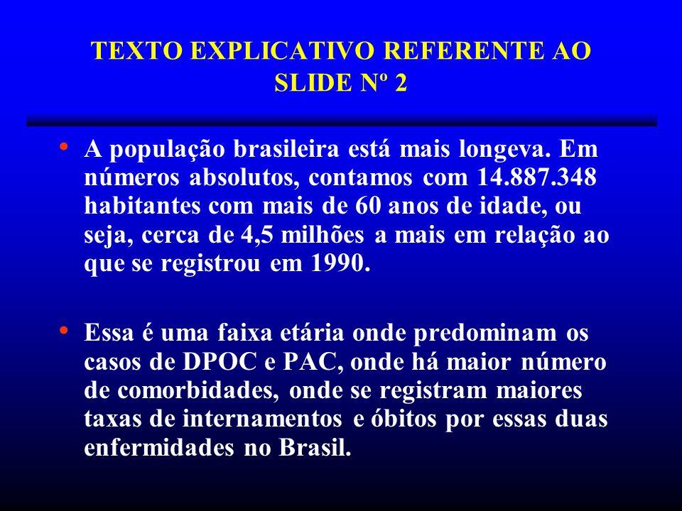 TEXTO EXPLICATIVO REFERENTE AO SLIDE Nº 2 A população brasileira está mais longeva. Em números absolutos, contamos com 14.887.348 habitantes com mais