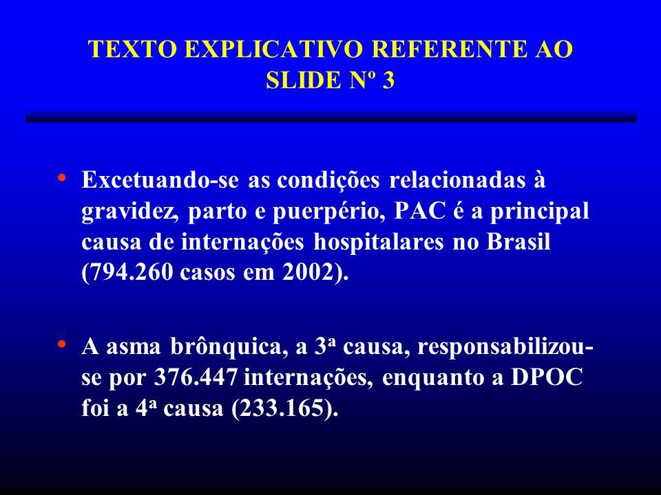 TEXTO EXPLICATIVO REFERENTE AO SLIDE Nº 3 Excetuando-se as condições relacionadas à gravidez, parto e puerpério, PAC é a principal causa de internaçõe