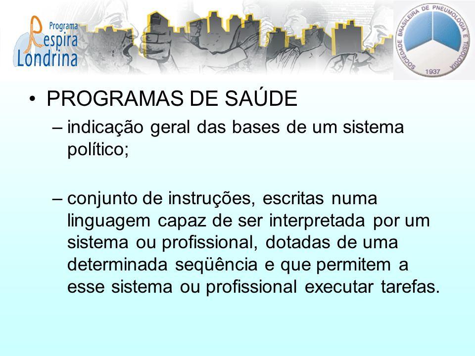 PROGRAMAS DE SAÚDE –indicação geral das bases de um sistema político; –conjunto de instruções, escritas numa linguagem capaz de ser interpretada por u