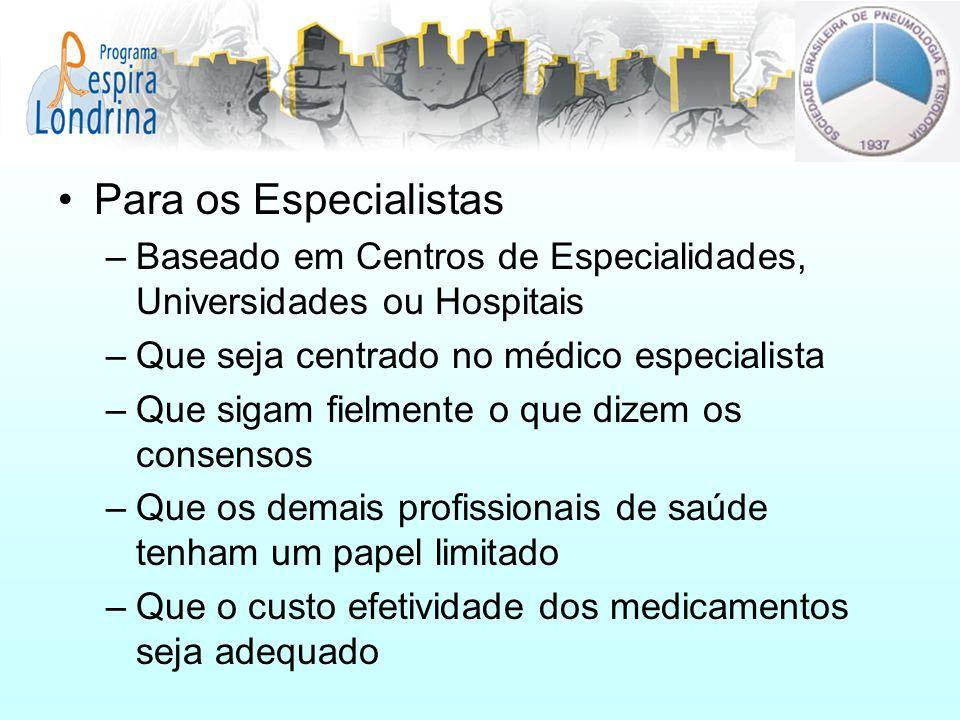 Para os Especialistas –Baseado em Centros de Especialidades, Universidades ou Hospitais –Que seja centrado no médico especialista –Que sigam fielmente