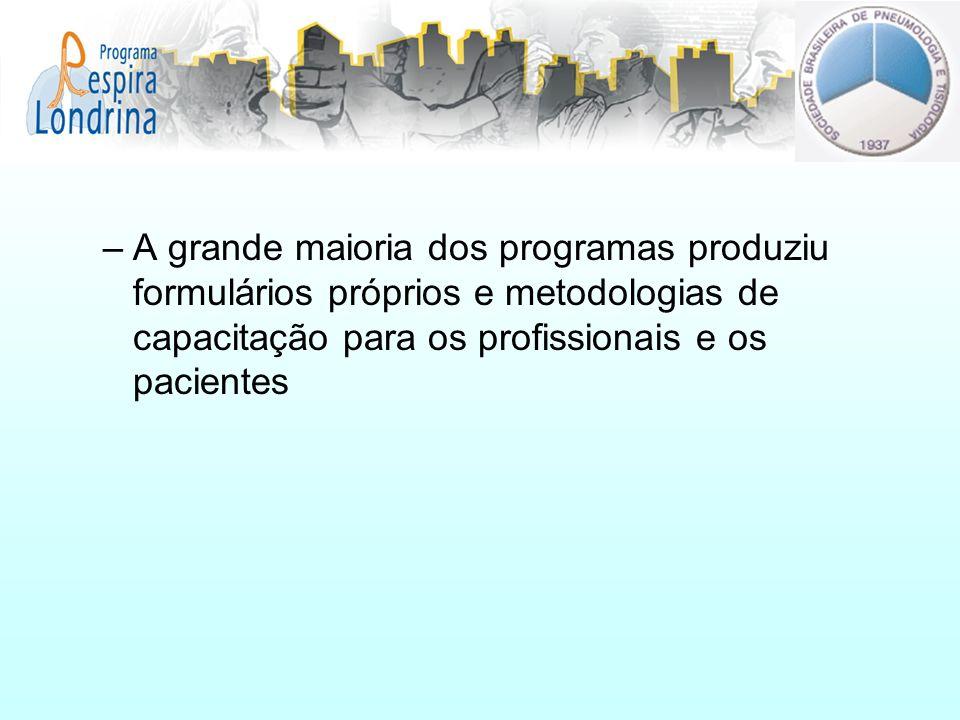 –A grande maioria dos programas produziu formulários próprios e metodologias de capacitação para os profissionais e os pacientes