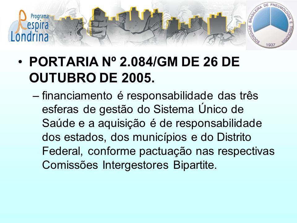 PORTARIA Nº 2.084/GM DE 26 DE OUTUBRO DE 2005. –financiamento é responsabilidade das três esferas de gestão do Sistema Único de Saúde e a aquisição é