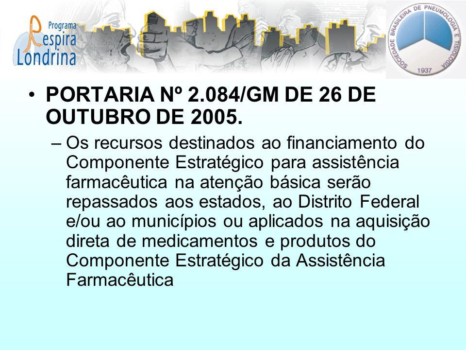 PORTARIA Nº 2.084/GM DE 26 DE OUTUBRO DE 2005. –Os recursos destinados ao financiamento do Componente Estratégico para assistência farmacêutica na ate