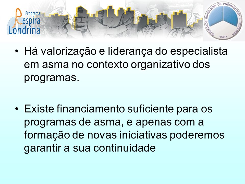 Há valorização e liderança do especialista em asma no contexto organizativo dos programas. Existe financiamento suficiente para os programas de asma,