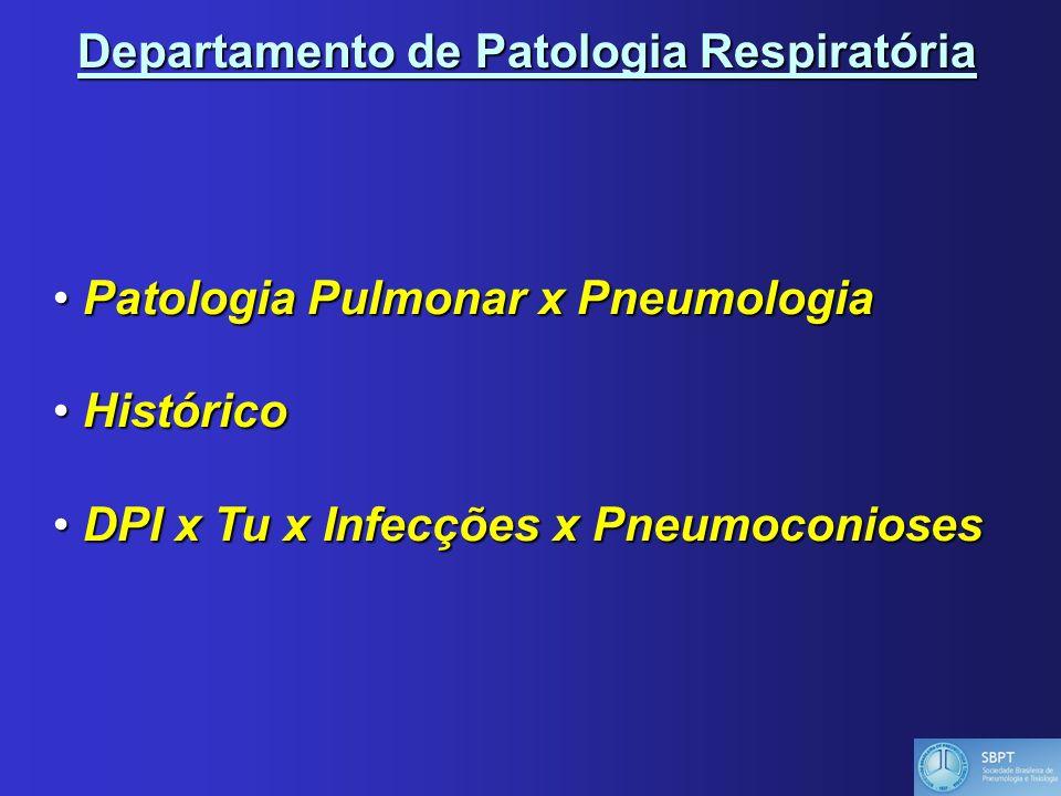 Departamento de Patologia Respiratória Patologia Pulmonar x Pneumologia Patologia Pulmonar x Pneumologia Histórico Histórico DPI x Tu x Infecções x Pneumoconioses DPI x Tu x Infecções x Pneumoconioses