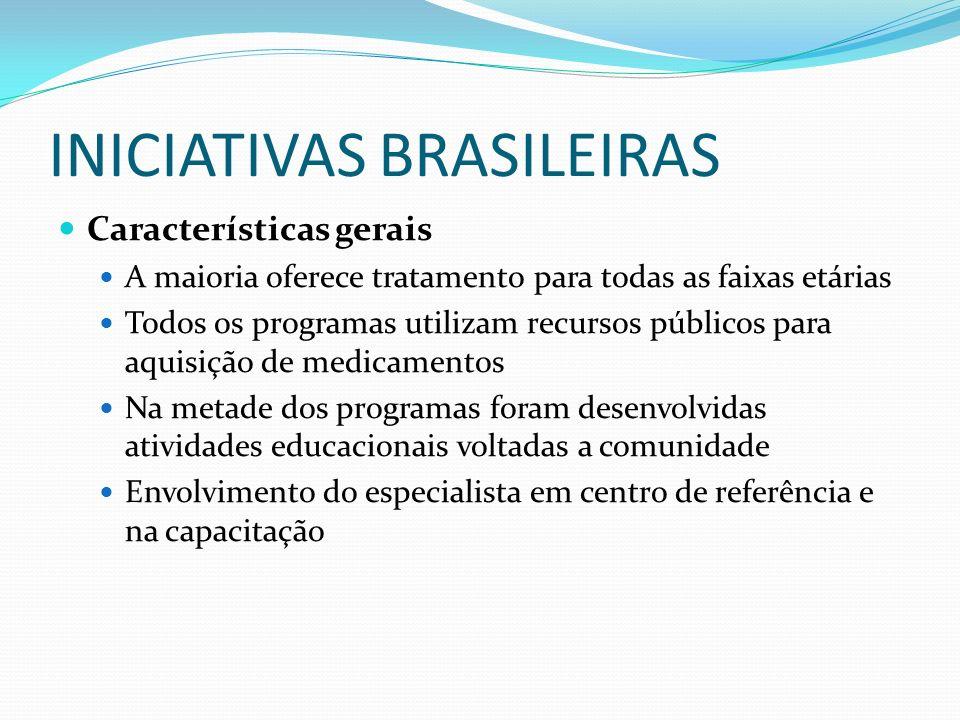 INICIATIVAS BRASILEIRAS Características gerais A maioria oferece tratamento para todas as faixas etárias Todos os programas utilizam recursos públicos