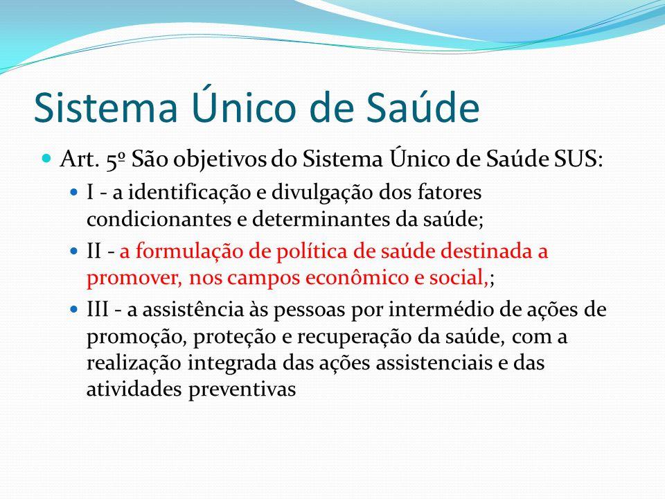 Sistema Único de Saúde Art. 5º São objetivos do Sistema Único de Saúde SUS: I - a identificação e divulgação dos fatores condicionantes e determinante