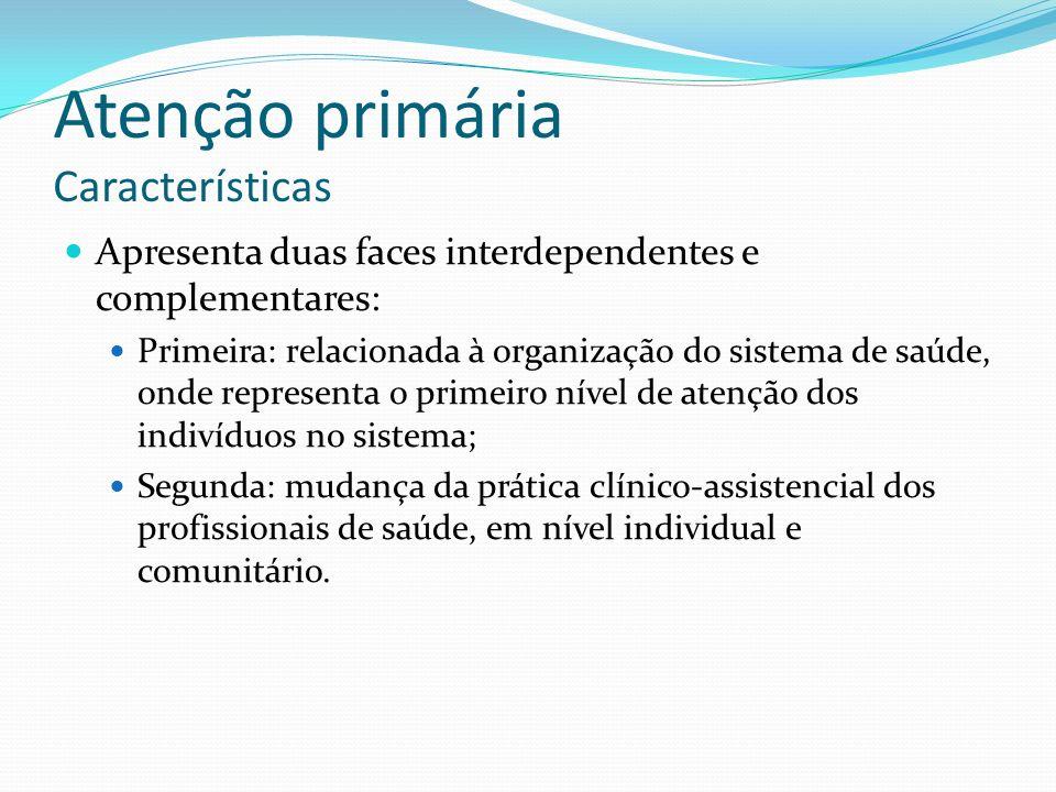 Apresenta duas faces interdependentes e complementares: Primeira: relacionada à organização do sistema de saúde, onde representa o primeiro nível de a