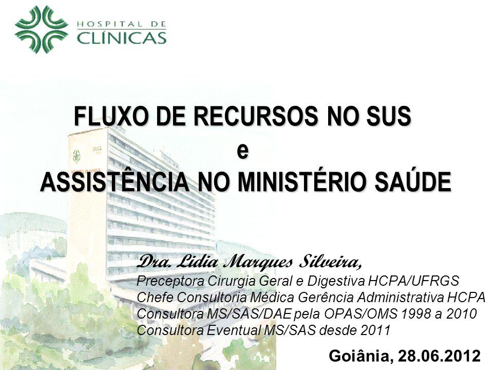 FLUXO DE RECURSOS NO SUS e ASSISTÊNCIA NO MINISTÉRIO SAÚDE Dra.