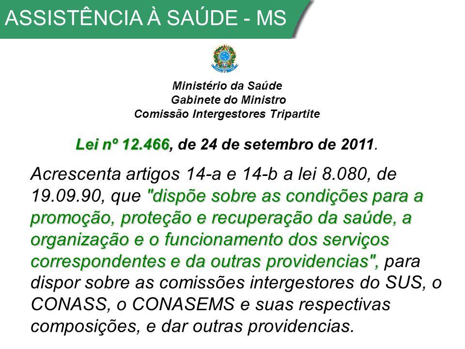 ASSISTÊNCIA À SAÚDE - MS Ministério da Saúde Gabinete do Ministro Comissão Intergestores Tripartite Lei nº 12.466 Lei nº 12.466, de 24 de setembro de 2011.