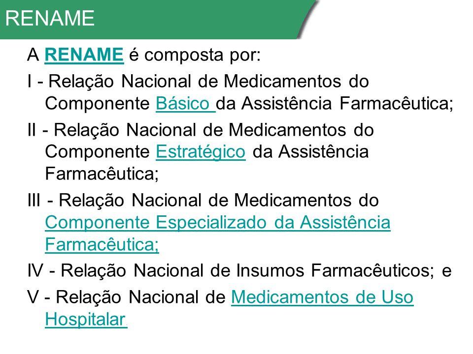 RENAME A RENAME é composta por:RENAME I - Relação Nacional de Medicamentos do Componente Básico da Assistência Farmacêutica;Básico II - Relação Nacional de Medicamentos do Componente Estratégico da Assistência Farmacêutica;Estratégico III - Relação Nacional de Medicamentos do Componente Especializado da Assistência Farmacêutica; Componente Especializado da Assistência Farmacêutica; IV - Relação Nacional de Insumos Farmacêuticos; e V - Relação Nacional de Medicamentos de Uso Hospitalar.Medicamentos de Uso Hospitalar.