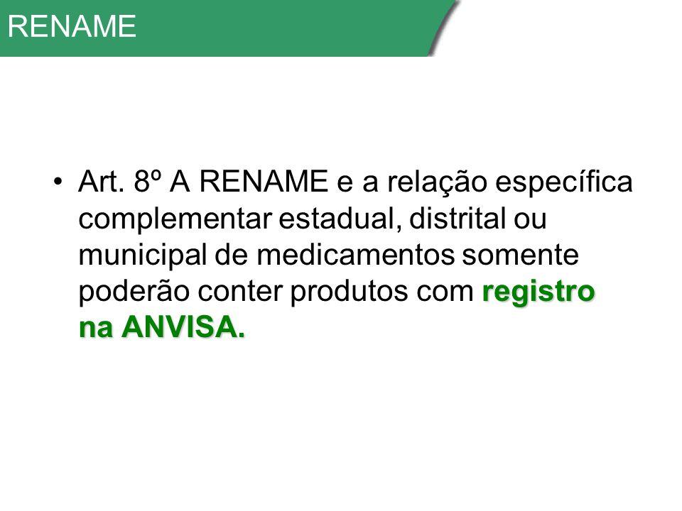 RENAME registro na ANVISA.Art.
