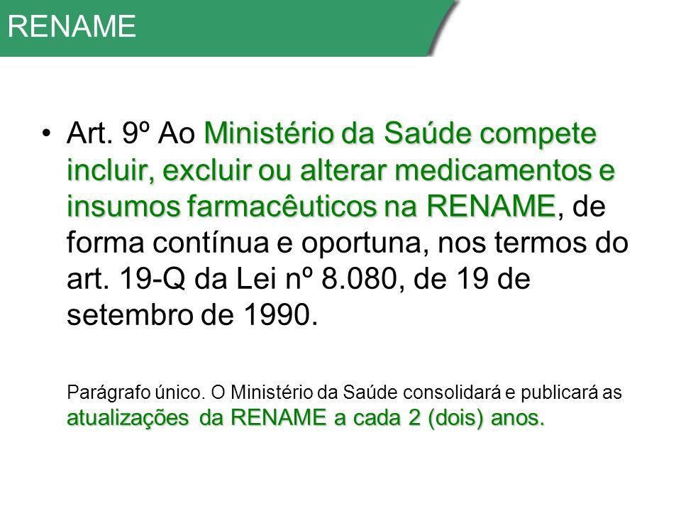 RENAME Ministério da Saúde compete incluir, excluir ou alterar medicamentos e insumos farmacêuticos na RENAMEArt.