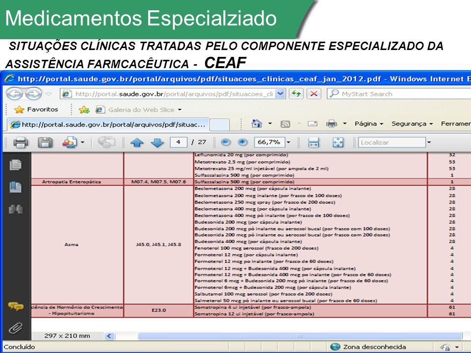 Medicamentos Especialziado SITUAÇÕES CLÍNICAS TRATADAS PELO COMPONENTE ESPECIALIZADO DA ASSISTÊNCIA FARMCACÊUTICA - CEAF