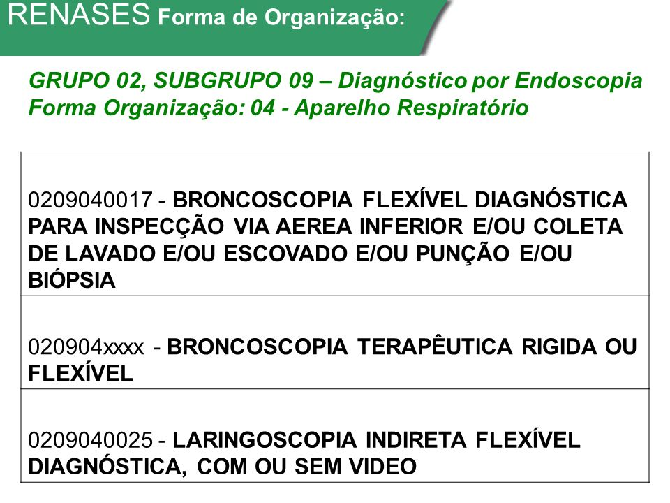 RENASES Forma de Organização: 0209040017 - BRONCOSCOPIA FLEXÍVEL DIAGNÓSTICA PARA INSPECÇÃO VIA AEREA INFERIOR E/OU COLETA DE LAVADO E/OU ESCOVADO E/OU PUNÇÃO E/OU BIÓPSIA 020904xxxx - BRONCOSCOPIA TERAPÊUTICA RIGIDA OU FLEXÍVEL 0209040025 - LARINGOSCOPIA INDIRETA FLEXÍVEL DIAGNÓSTICA, COM OU SEM VIDEO GRUPO 02, SUBGRUPO 09 – Diagnóstico por Endoscopia Forma Organização: 04 - Aparelho Respiratório