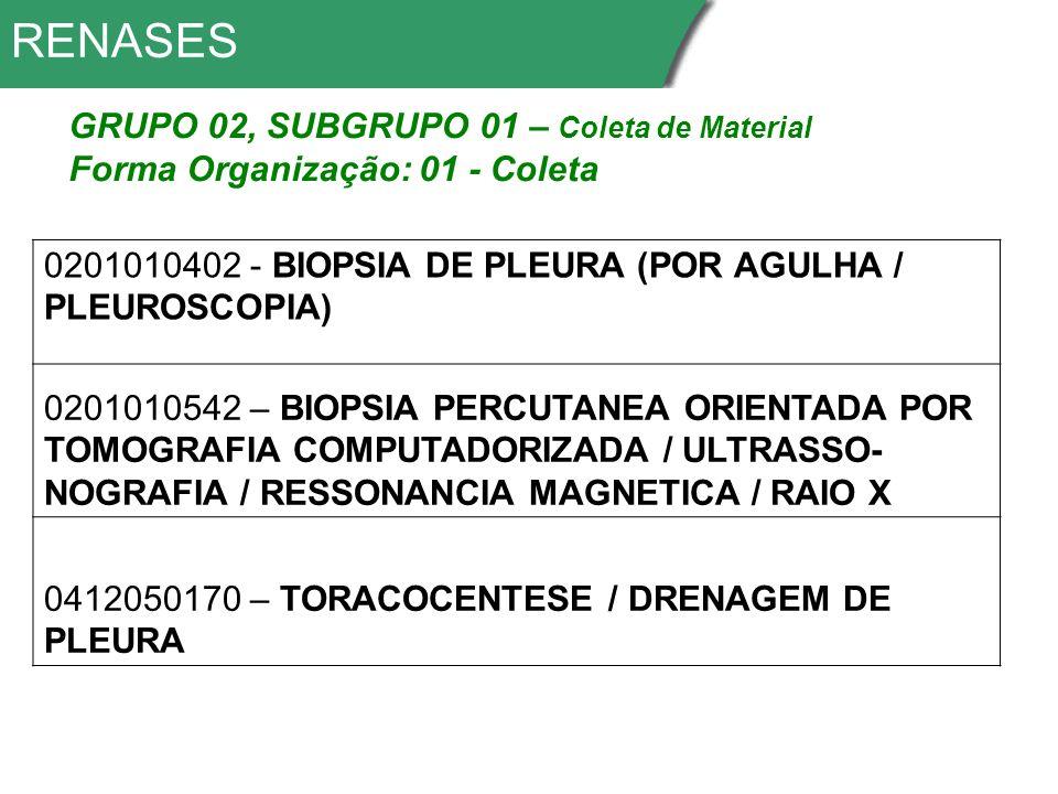 RENASES 0201010402 - BIOPSIA DE PLEURA (POR AGULHA / PLEUROSCOPIA) 0201010542 – BIOPSIA PERCUTANEA ORIENTADA POR TOMOGRAFIA COMPUTADORIZADA / ULTRASSO- NOGRAFIA / RESSONANCIA MAGNETICA / RAIO X 0412050170 – TORACOCENTESE / DRENAGEM DE PLEURA GRUPO 02, SUBGRUPO 01 – Coleta de Material Forma Organização: 01 - Coleta