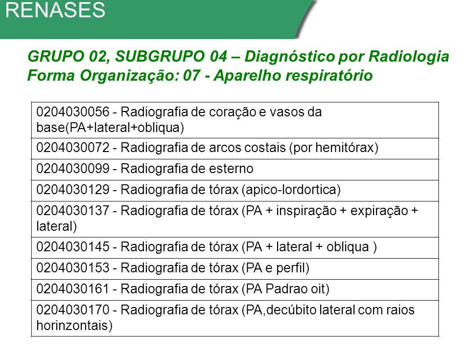 RENASES GRUPO 02, SUBGRUPO 04 – Diagnóstico por Radiologia Forma Organização: 07 - Aparelho respiratório 0204030056 - Radiografia de coração e vasos da base(PA+lateral+obliqua) 0204030072 - Radiografia de arcos costais (por hemitórax) 0204030099 - Radiografia de esterno 0204030129 - Radiografia de tórax (apico-lordortica) 0204030137 - Radiografia de tórax (PA + inspiração + expiração + lateral) 0204030145 - Radiografia de tórax (PA + lateral + obliqua ) 0204030153 - Radiografia de tórax (PA e perfil) 0204030161 - Radiografia de tórax (PA Padrao oit) 0204030170 - Radiografia de tórax (PA,decúbito lateral com raios horinzontais)