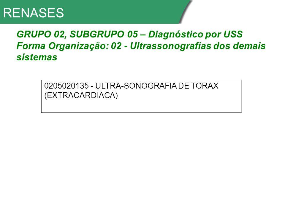 RENASES GRUPO 02, SUBGRUPO 05 – Diagnóstico por USS Forma Organização: 02 - Ultrassonografias dos demais sistemas 0205020135 - ULTRA-SONOGRAFIA DE TORAX (EXTRACARDIACA)