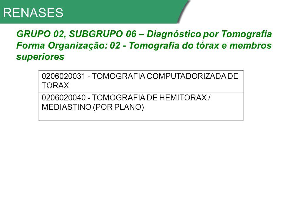 RENASES GRUPO 02, SUBGRUPO 06 – Diagnóstico por Tomografia Forma Organização: 02 - Tomografia do tórax e membros superiores 0206020031 - TOMOGRAFIA COMPUTADORIZADA DE TORAX 0206020040 - TOMOGRAFIA DE HEMITORAX / MEDIASTINO (POR PLANO)