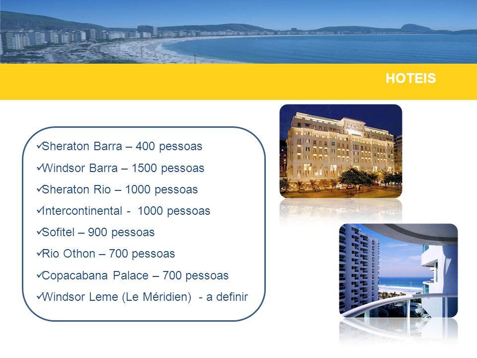 HOTEIS Sheraton Barra – 400 pessoas Windsor Barra – 1500 pessoas Sheraton Rio – 1000 pessoas Intercontinental - 1000 pessoas Sofitel – 900 pessoas Rio