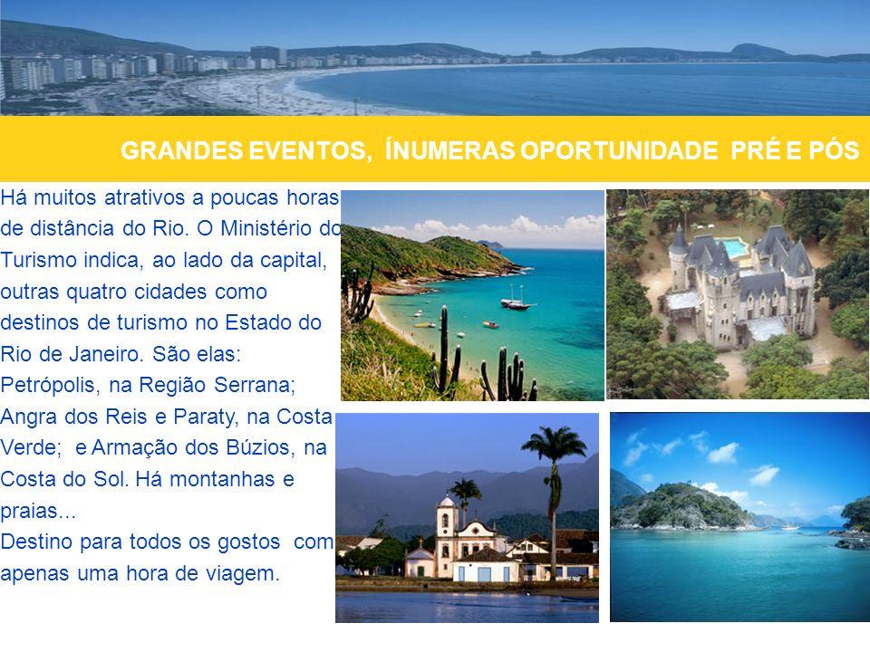 Há muitos atrativos a poucas horas de distância do Rio. O Ministério do Turismo indica, ao lado da capital, outras quatro cidades como destinos de tur