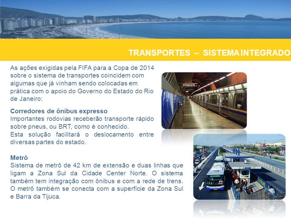 TRANSPORTES As previsões de investimento, segundo o dossiê de transporte do compromisso Olímpico acordado com o Comitê Olímpico Internacional são de cerca de US$ 405 milhões para ampliação dos dois terminais do aeroporto Internacional Antonio Carlos Jobim; e aumento da capacidade de passageiros para 25 milhões até o ano de 2014.