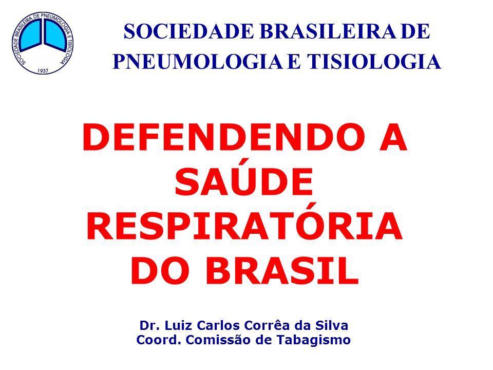 SOCIEDADE BRASILEIRA DE PNEUMOLOGIA E TISIOLOGIA DEFENDENDO A SAÚDE RESPIRATÓRIA DO BRASIL Dr. Luiz Carlos Corrêa da Silva Coord. Comissão de Tabagism