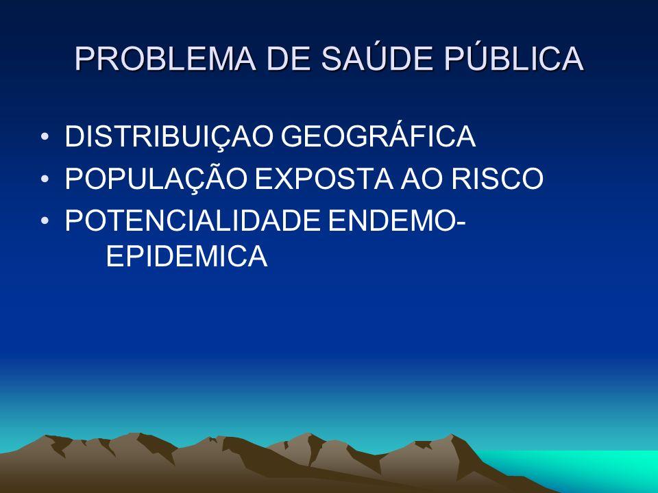 PROBLEMA DE SAÚDE PÚBLICA DISTRIBUIÇAO GEOGRÁFICA POPULAÇÃO EXPOSTA AO RISCO POTENCIALIDADE ENDEMO- EPIDEMICA