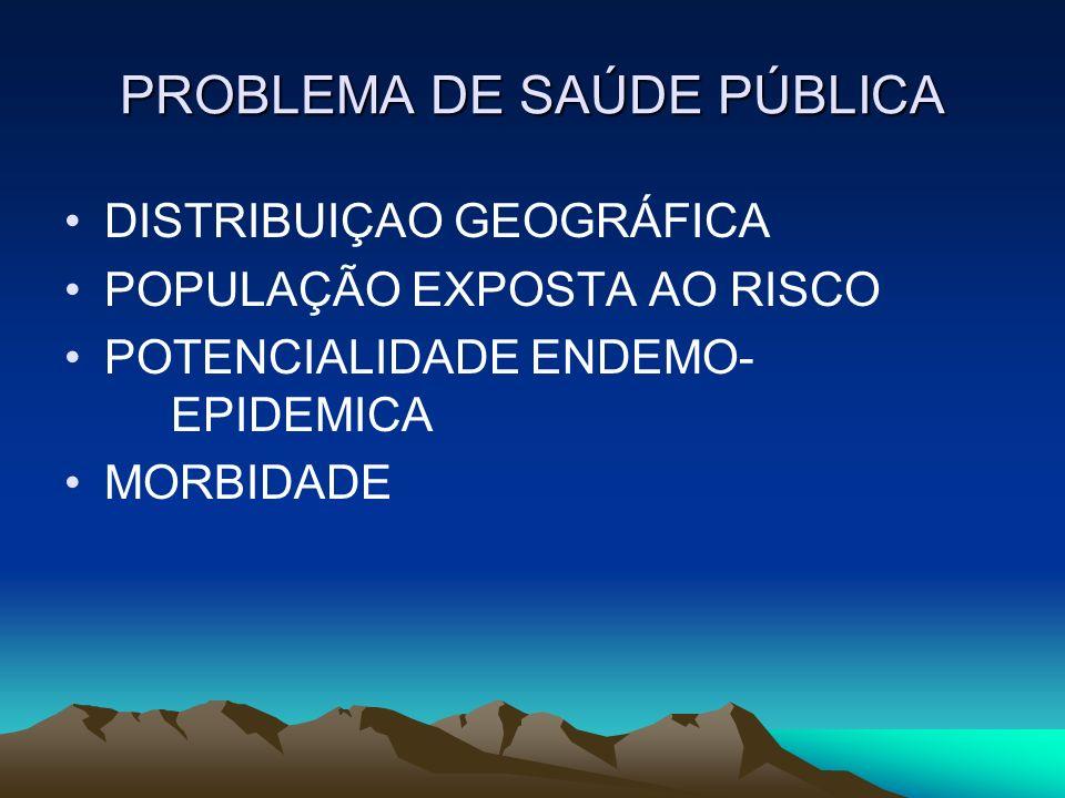 PROBLEMA DE SAÚDE PÚBLICA DISTRIBUIÇAO GEOGRÁFICA POPULAÇÃO EXPOSTA AO RISCO POTENCIALIDADE ENDEMO- EPIDEMICA MORBIDADE