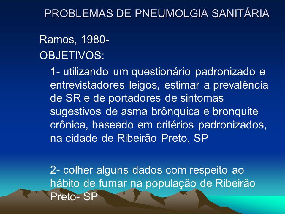 PROBLEMAS DE PNEUMOLGIA SANITÁRIA Ramos, 1980- OBJETIVOS: 1- utilizando um questionário padronizado e entrevistadores leigos, estimar a prevalência de SR e de portadores de sintomas sugestivos de asma brônquica e bronquite crônica, baseado em critérios padronizados, na cidade de Ribeirão Preto, SP 2- colher alguns dados com respeito ao hábito de fumar na população de Ribeirão Preto- SP