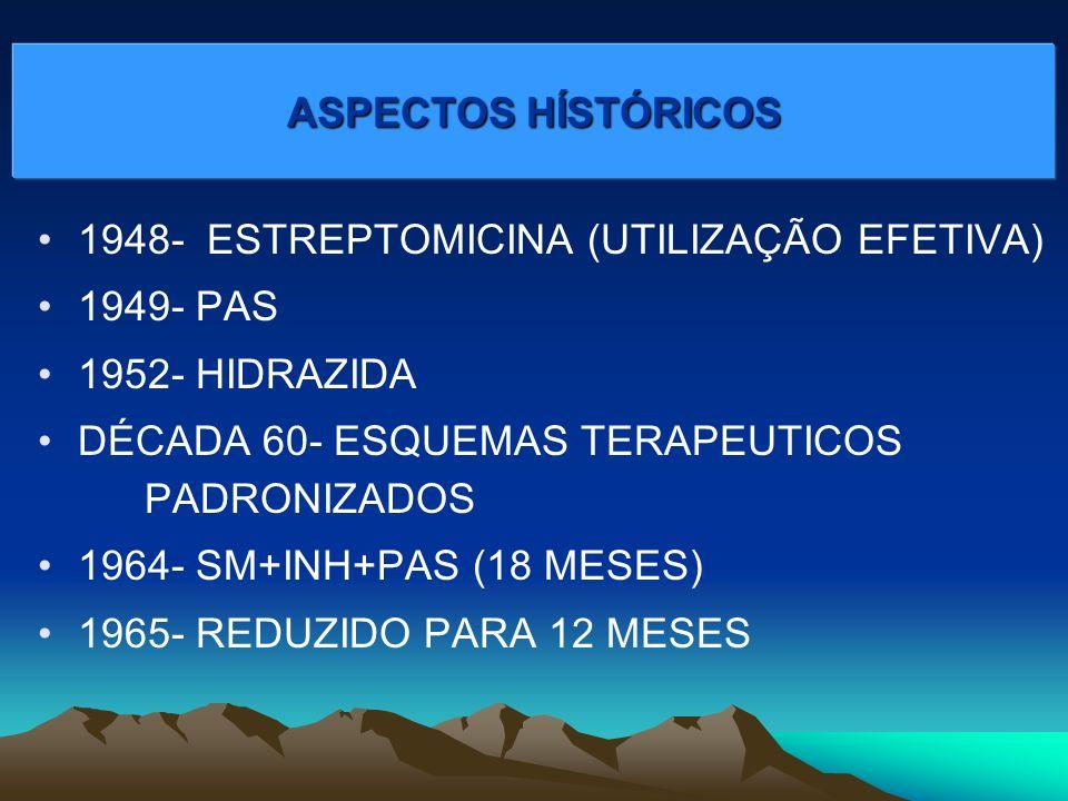 1948- ESTREPTOMICINA (UTILIZAÇÃO EFETIVA) 1949- PAS 1952- HIDRAZIDA DÉCADA 60- ESQUEMAS TERAPEUTICOS PADRONIZADOS 1964- SM+INH+PAS (18 MESES) 1965- REDUZIDO PARA 12 MESES ASPECTOS HÍSTÓRICOS