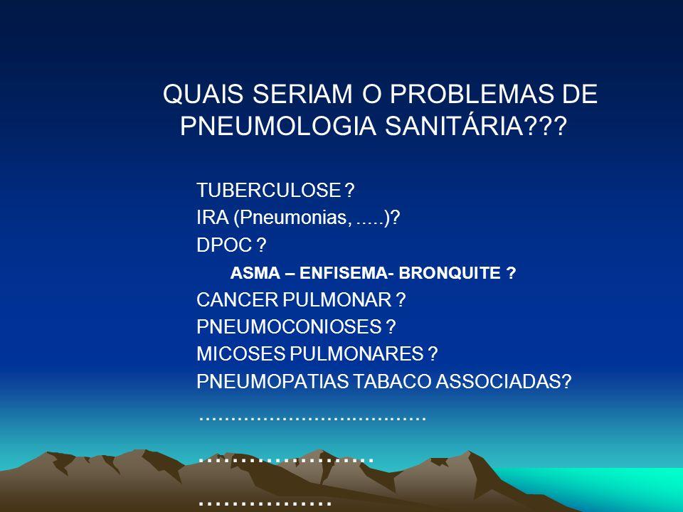 QUAIS SERIAM O PROBLEMAS DE PNEUMOLOGIA SANITÁRIA??.