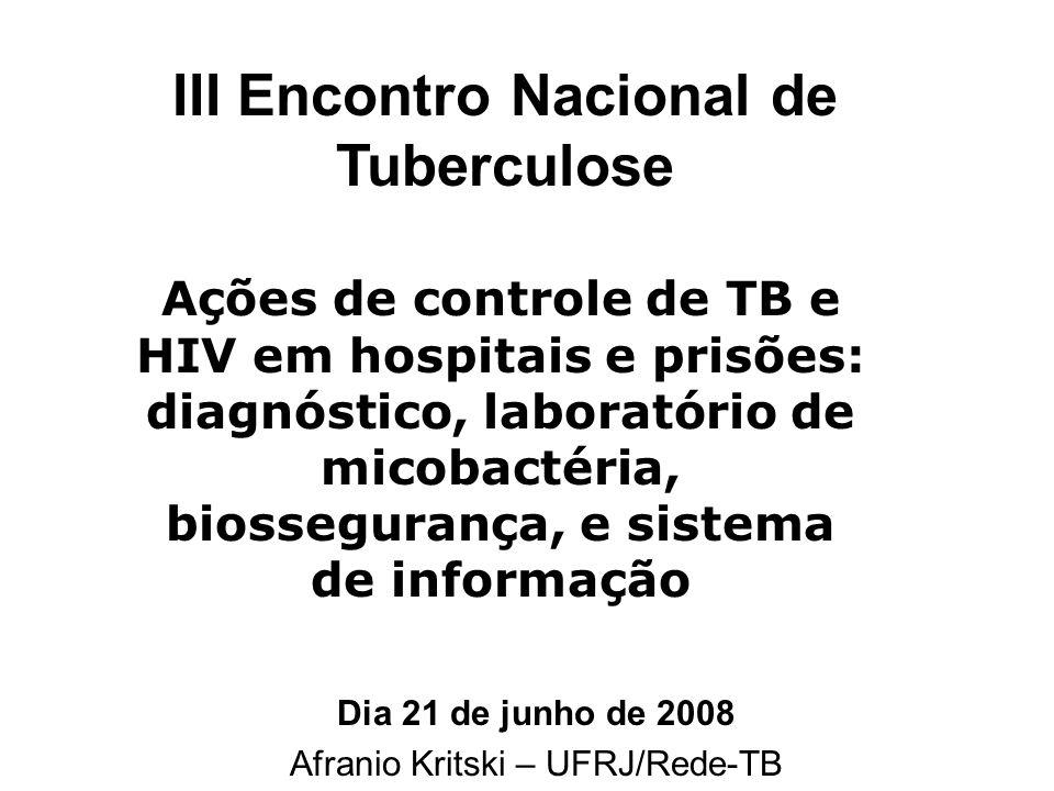 Dia 21 de junho de 2008 Afranio Kritski – UFRJ/Rede-TB Ações de controle de TB e HIV em hospitais e prisões: diagnóstico, laboratório de micobactéria,