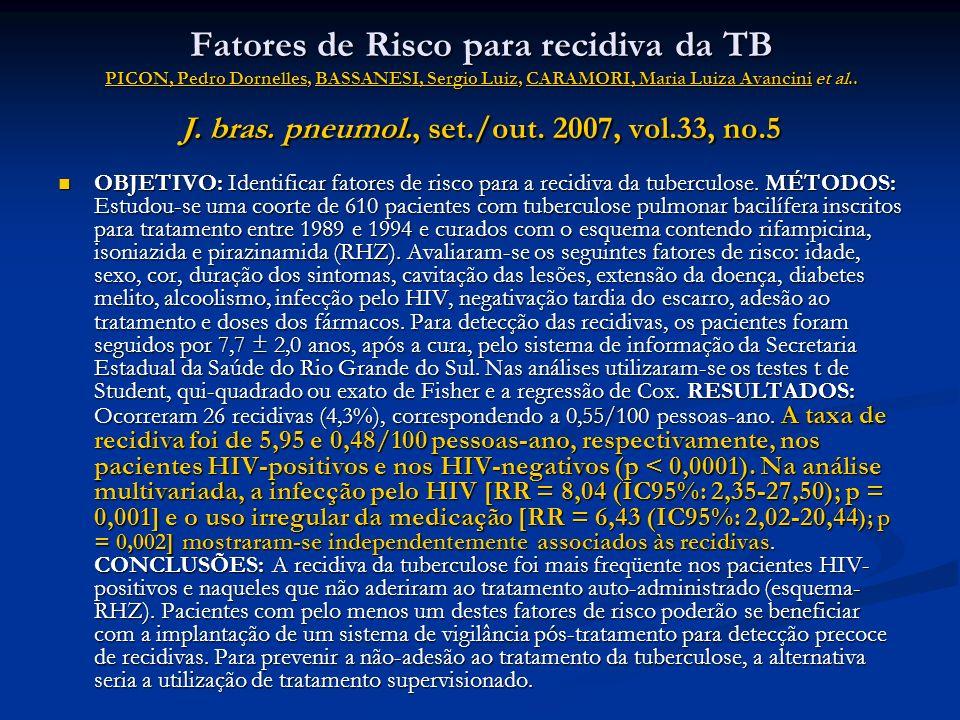 Fatores de Risco para recidiva da TB PICON, Pedro Dornelles, BASSANESI, Sergio Luiz, CARAMORI, Maria Luiza Avancini et al.. J. bras. pneumol., set./ou