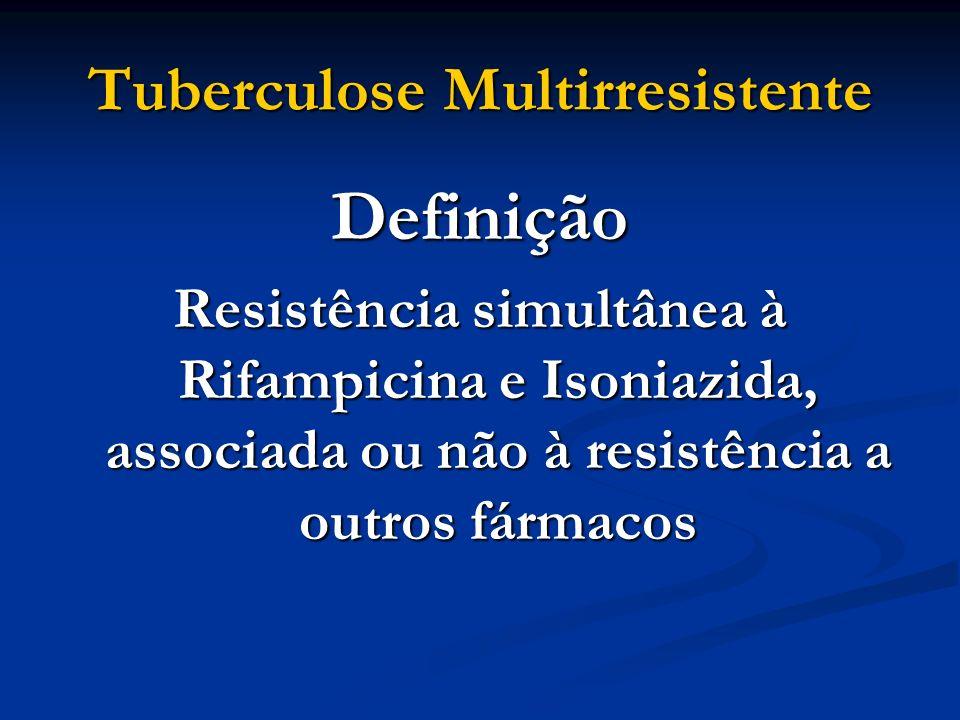 Tuberculose Multirresistente Definição Resistência simultânea à Rifampicina e Isoniazida, associada ou não à resistência a outros fármacos