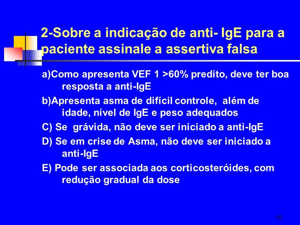 10 2-Sobre a indicação de anti- IgE para a paciente assinale a assertiva falsa a)Como apresenta VEF 1 >60% predito, deve ter boa resposta a anti-IgE b