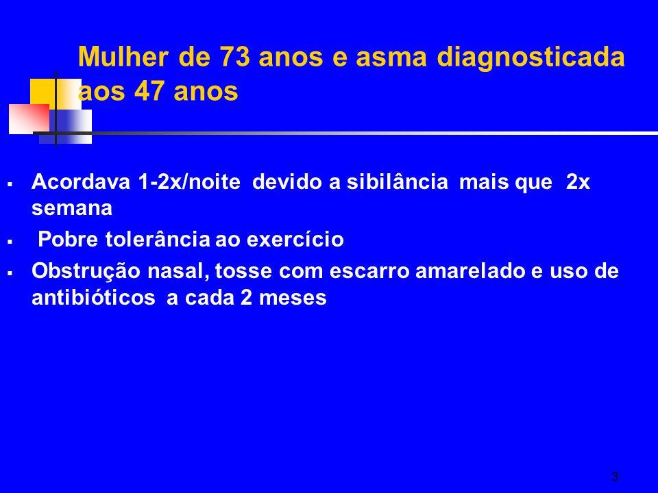 3 Acordava 1-2x/noite devido a sibilância mais que 2x semana Pobre tolerância ao exercício Obstrução nasal, tosse com escarro amarelado e uso de antib