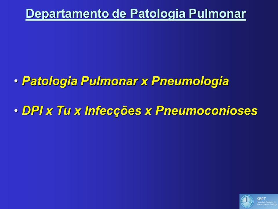 Departamento de Patologia Pulmonar Patologia Pulmonar x Pneumologia Patologia Pulmonar x Pneumologia DPI x Tu x Infecções x Pneumoconioses DPI x Tu x