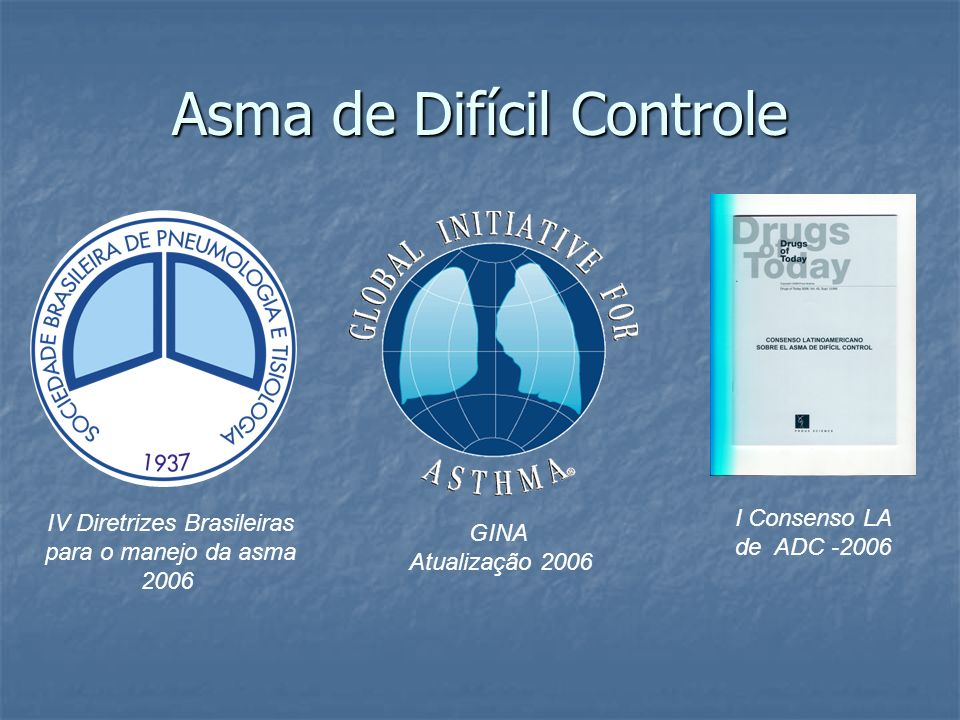 Asma de Difícil Controle IV Diretrizes Brasileiras para o manejo da asma 2006 I Consenso LA de ADC -2006 GINA Atualização 2006