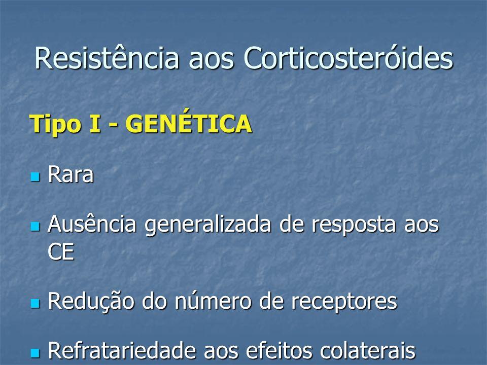 Resistência aos Corticosteróides Tipo I - GENÉTICA Rara Rara Ausência generalizada de resposta aos CE Ausência generalizada de resposta aos CE Redução