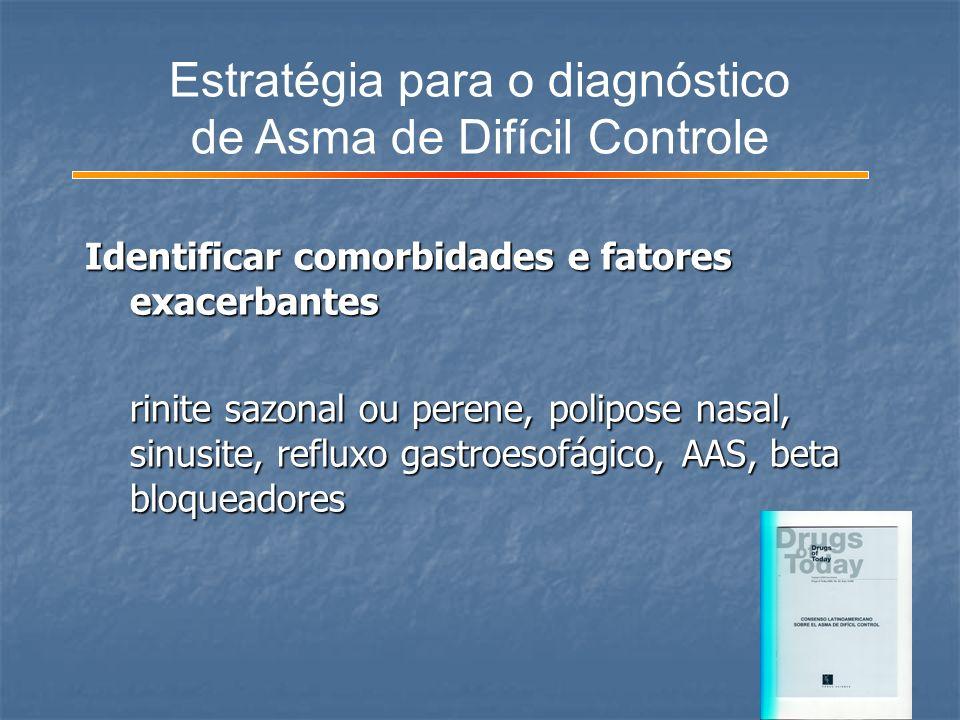 Identificar comorbidades e fatores exacerbantes Identificar comorbidades e fatores exacerbantes rinite sazonal ou perene, polipose nasal, sinusite, re