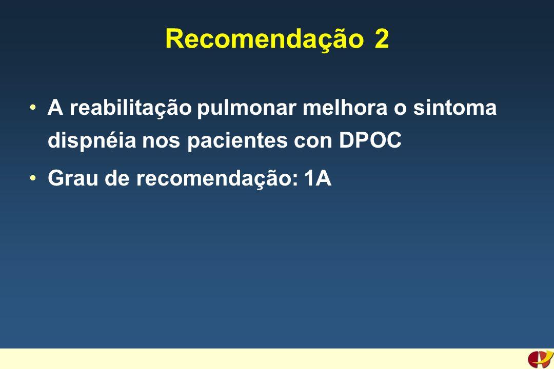 Recomendação 2 A reabilitação pulmonar melhora o sintoma dispnéia nos pacientes con DPOC Grau de recomendação: 1A