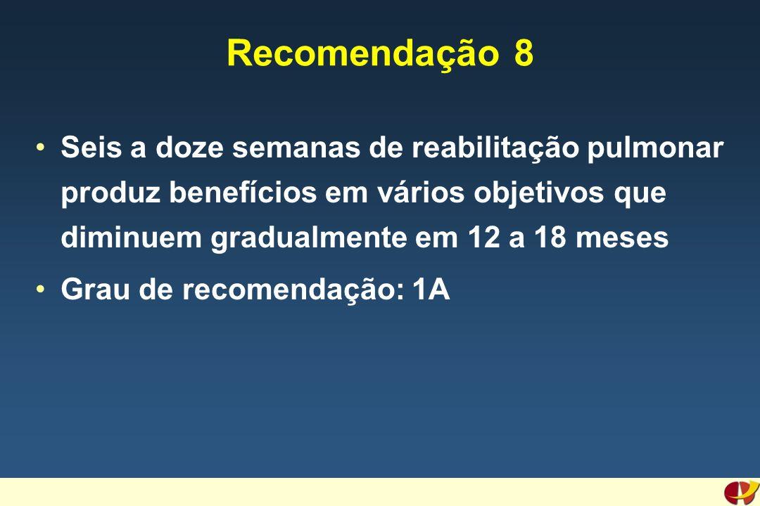 Recomendação 8 Seis a doze semanas de reabilitação pulmonar produz benefícios em vários objetivos que diminuem gradualmente em 12 a 18 meses Grau de recomendação: 1A