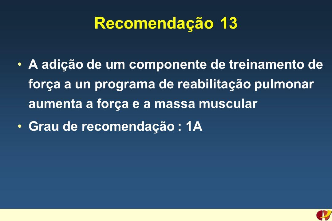 Recomendação 13 A adição de um componente de treinamento de força a un programa de reabilitação pulmonar aumenta a força e a massa muscular Grau de recomendação : 1A