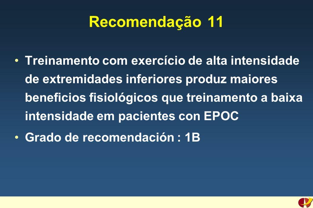 Recomendação 11 Treinamento com exercício de alta intensidade de extremidades inferiores produz maiores beneficios fisiológicos que treinamento a baixa intensidade em pacientes con EPOC Grado de recomendación : 1B