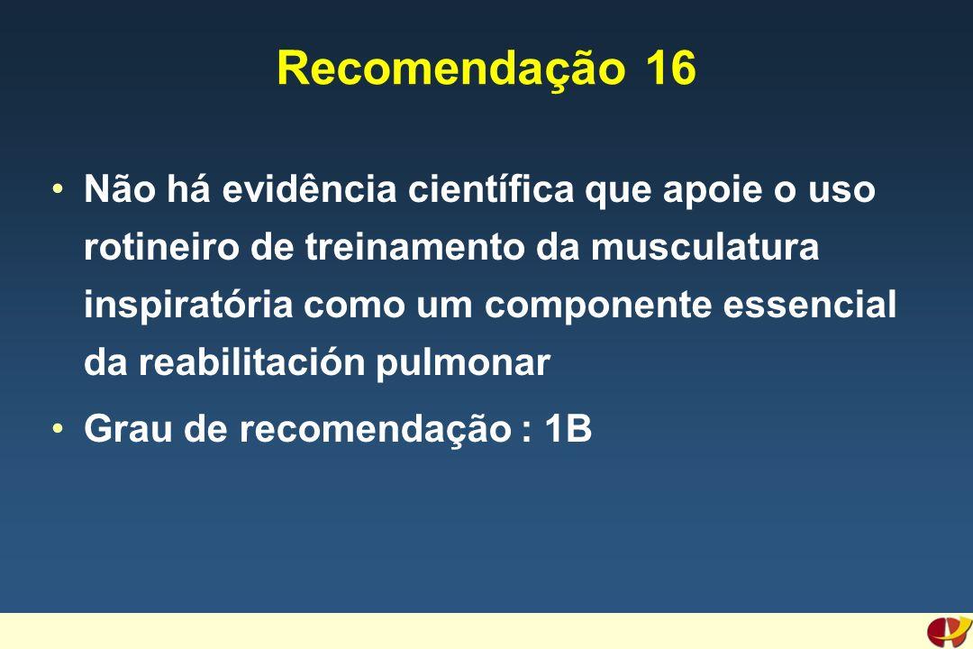 Recomendação 16 Não há evidência científica que apoie o uso rotineiro de treinamento da musculatura inspiratória como um componente essencial da reabilitación pulmonar Grau de recomendação : 1B