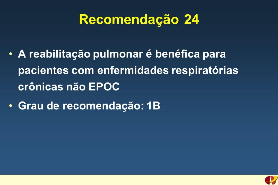 Recomendação 24 A reabilitação pulmonar é benéfica para pacientes com enfermidades respiratórias crônicas não EPOC Grau de recomendação: 1B
