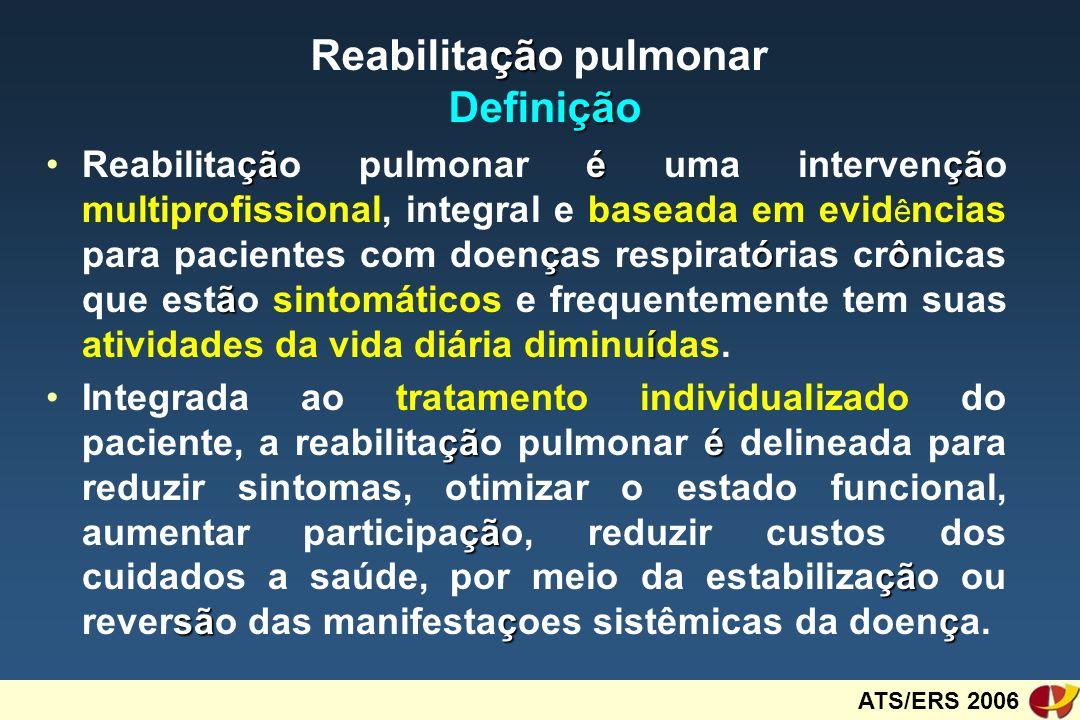 Rehabilitation Program - COPD 3 months / 3 days a week n = 23 yr = 68 FEV 1 = light to severe Training = anaerobic threshold or 80 % HRmax Physical capacity Physical capacity Quality of life Quality of life 4 ( 17 % ) 11 ( 48 % )7 ( 30 % ) Any improvement: 22 / 23 = 95.7 % Salerno et al